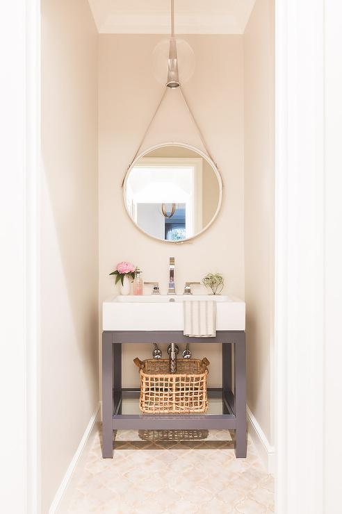 Alyssa Rosenheck White And Gray Powder Room Sink Vanity With Hanging Mirror Transitional Bathroom