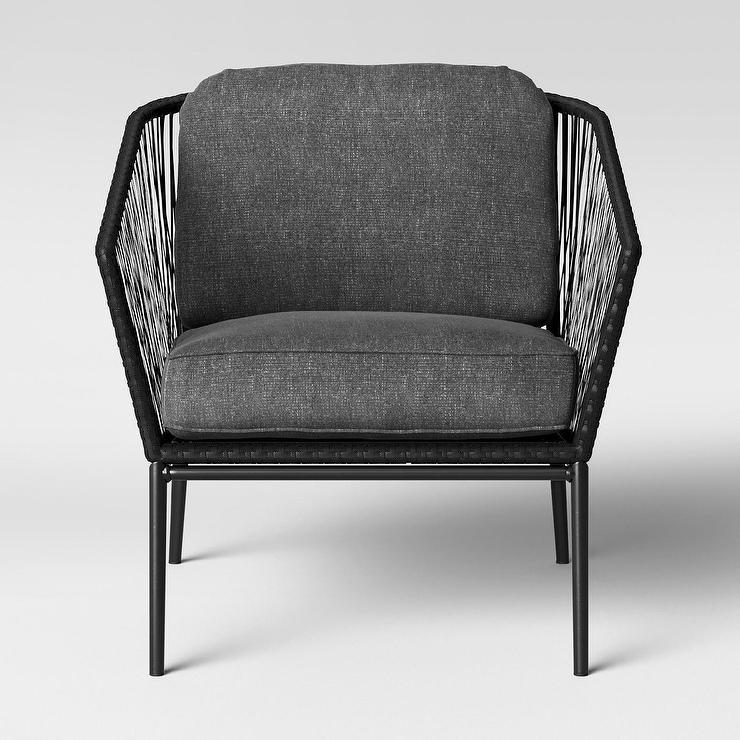 Phenomenal Threshold Standish Gray Black Sling Patio Chair Machost Co Dining Chair Design Ideas Machostcouk