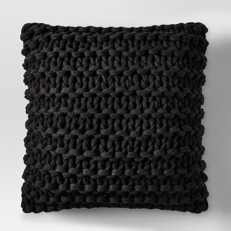 Project 62 Large Black Knit Throw Pillow