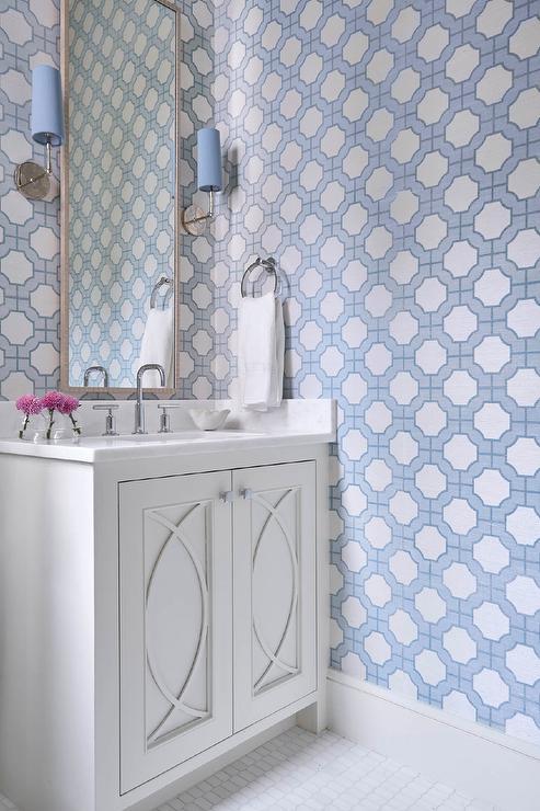 Blue iMperial Gates Wallpaper on Bath Walls