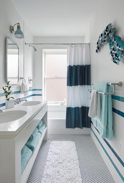 White and Blue Stripe Bathroom Wall Tiles Transitional Bathroom