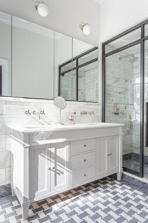 White And Gray Marble Tiled Floors Transitional Bathroom