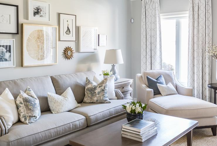 Blue Pillow on White Chaise Lounge - Transitional - Living Room