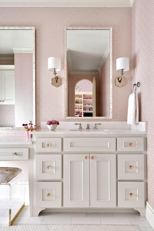 Pink Girls Bathroom With Gray Glass Tiles Transitional