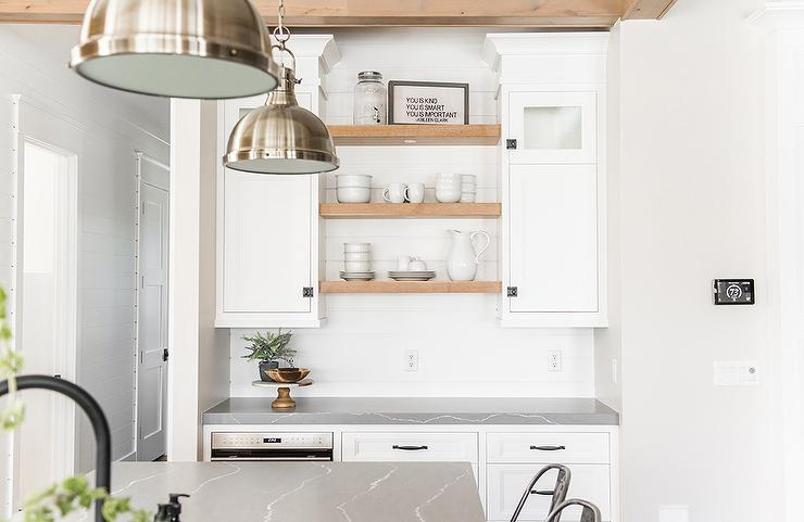 White Cabinets With Blond Wood Shelves Transitional Kitchen