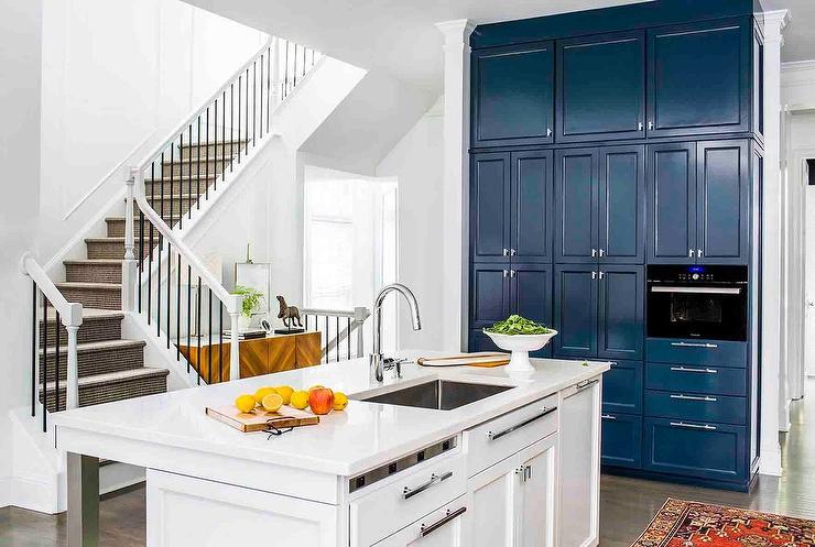 blue shiplap kitchen island with sleek white leather. Black Bedroom Furniture Sets. Home Design Ideas