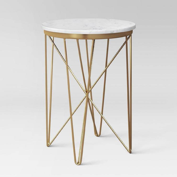 White Marble And Metal Round Accent Table: Crate And Barrel