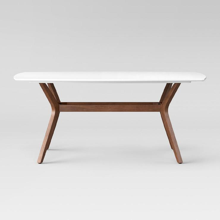 Parker Mid-Century White Round Dining Table