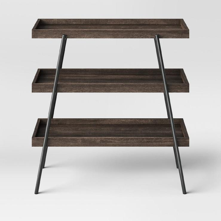 Hillside Espresso Shelves Metal Console Table - Metal table with shelves