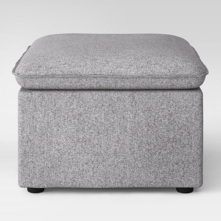 Incredible Project 62 Beckstand Gray Linen Square Ottoman Spiritservingveterans Wood Chair Design Ideas Spiritservingveteransorg