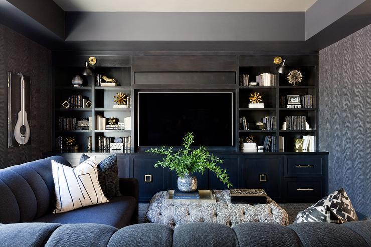 Black TV Room With Sectional