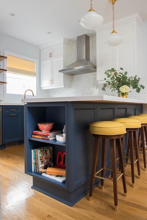 Blue Kitchen Peninsula Design Ideas