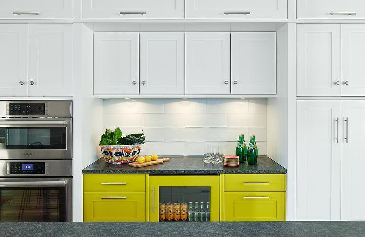 Yellow Kitchen Cabinets with Black Leathered Granite ...