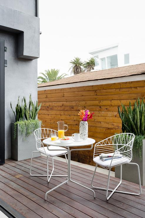 Modern White Metal Outdoor Chairs With White Metal Cafe Table