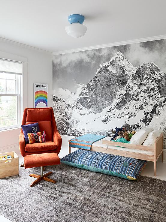 Black and White Mountain Mural On Kids Bed Wall ...