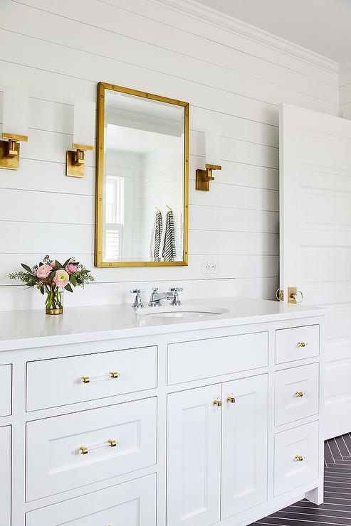 gold bathroom ideas bathroom with schoolhouse electric orbit sconces 11890