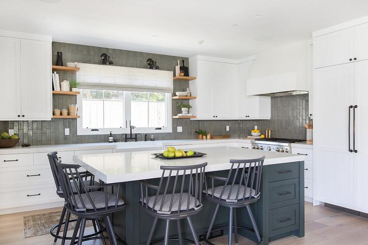 Cool Charcoal Gray Island With Gray Windsor Stools Transitional Gmtry Best Dining Table And Chair Ideas Images Gmtryco