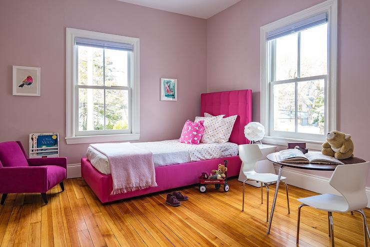 Hot Pink Tufted Twin Bed With Pink Polka Dot Bedding Transitional