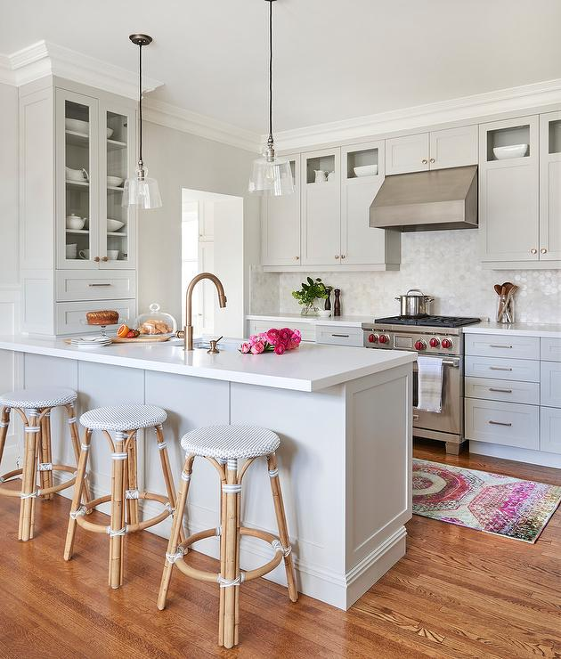 Kitchen Wall Wainscoting: Light Gray Kitchen Peninsula With Backless Bistro Stools
