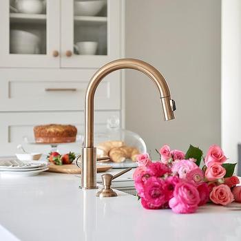 gold kitchen faucet. Gold Gooseneck Faucet In Kitchen Peninsula