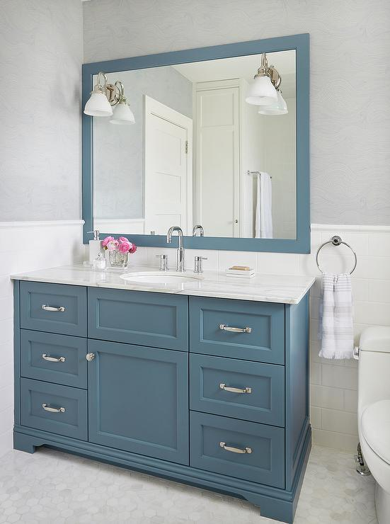 Light Blue Bathroom Vanity Transitional Bathroom