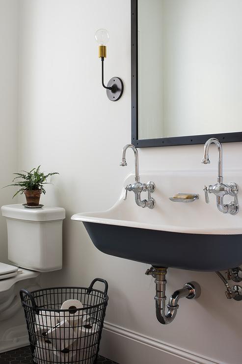Vintage Powder Room With Vintage Exposed Plumbing Toilet