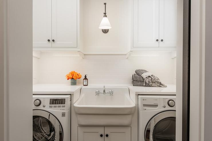 Vintage Apron Sink Between Washer and Dryer - Transitional - Laundry ...