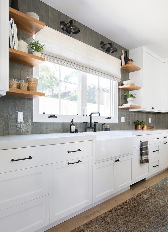 Vertical Gray Backsplash Tiles Transitional Kitchen