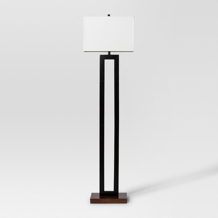 Weston Tall Black Metal Wood Floor Lamp