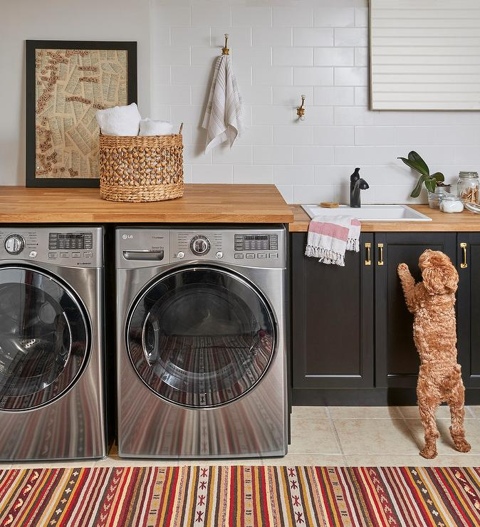 Silver Lg Washer And Dryer Under Wood Countertop