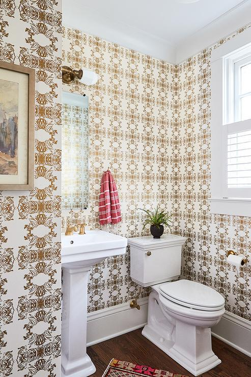 Gold Tiger Print Wallpaper In Powder Room