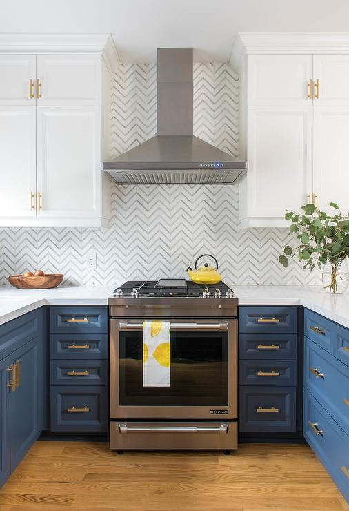 White and Blue Cabinets with White and Gray Marble Chevron ...
