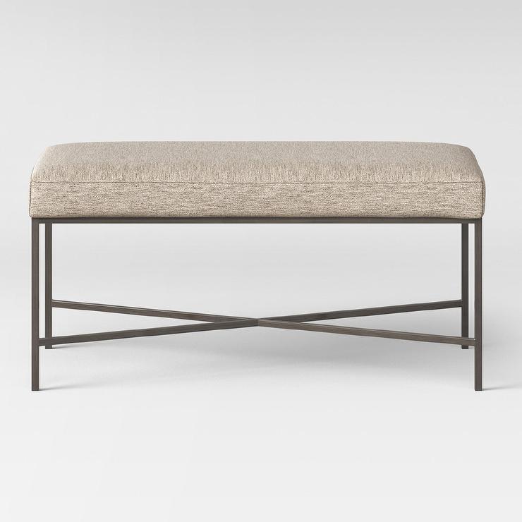 Tremendous Malvern Large Rectangular Beige Metal Ottoman Ncnpc Chair Design For Home Ncnpcorg