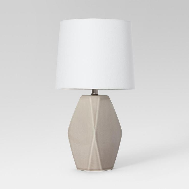 Herringbone Ceramic Table Lamp In Gray