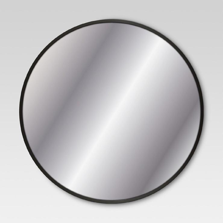 Loft matte black iron frame mirror for Round black wall mirror