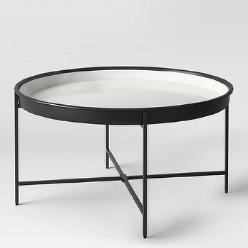 Rectangular White Tray Chrome Coffee Table