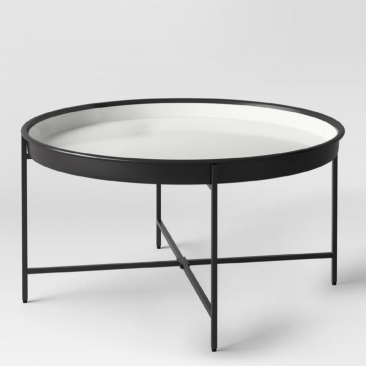Pradet Black White Metal Tray Coffee Table