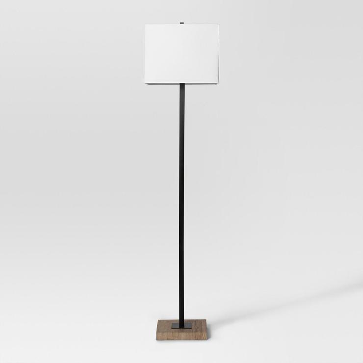 Project 62 square base wood black floor lamp audiocablefo