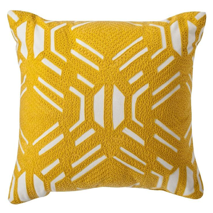 Room Essentials Yellow Patterned Throw Pillow