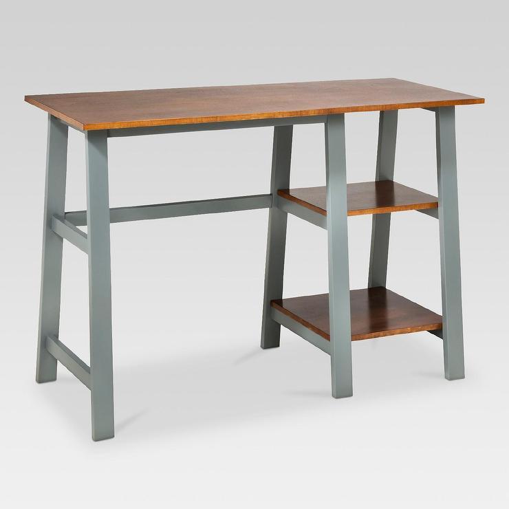 Threshold Gray Trestle Wood Desk