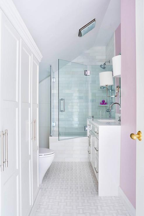 Lilac girls bathroom with light gray sloped ceiling transitional lilac girls bathroom with light gray sloped ceiling mozeypictures Gallery