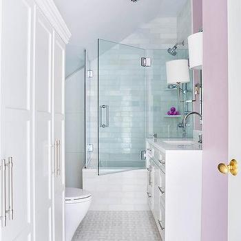 Delicieux Lilac Girls Bathroom With Light Gray Sloped Ceiling