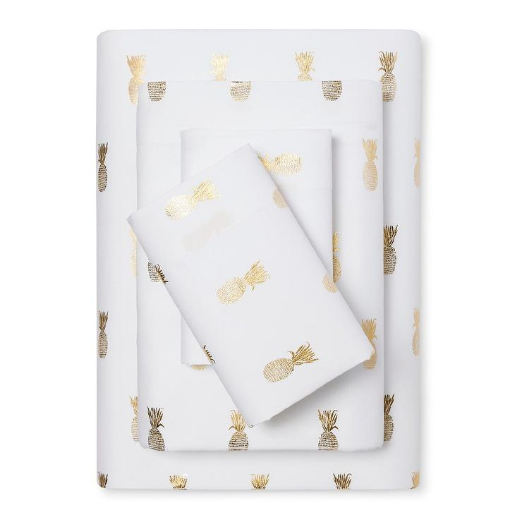 Room Essentials Gold Pineapples White Sheet Set