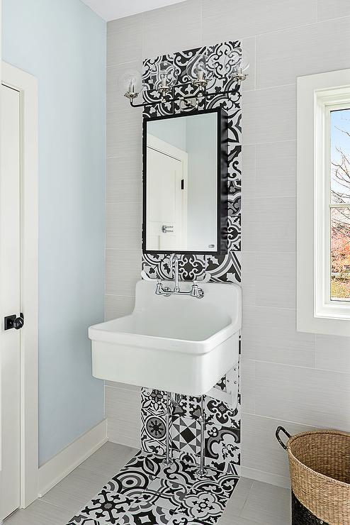White And Gray Bathroom With Black And White Cement Floor