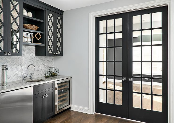Black Mirrored Pantry Cabinets with Black Shelves & Black Mirrored Pantry Cabinets with Black Shelves - Transitional ...