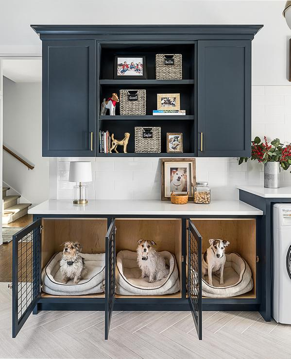 Blue Laundry Room Cabinets With Built In Dog Beds
