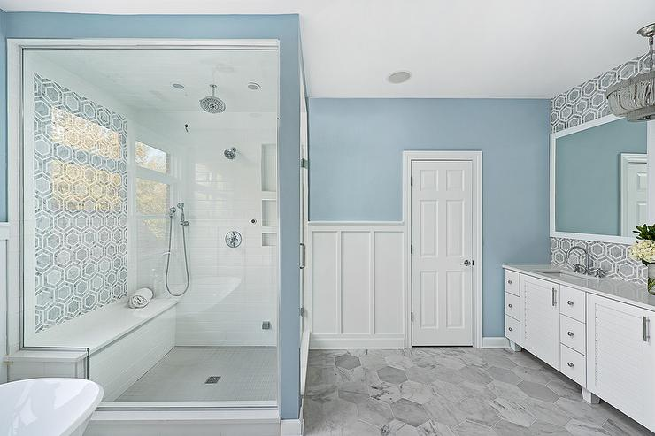 Large Blue Bathroom Tiles White and Blue Master Bath with Large Gray Hex Floor Tiles
