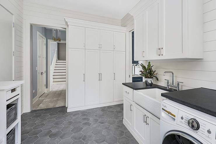 Dark Gray Hexagon Laundry Room Floor Tiles Transitional