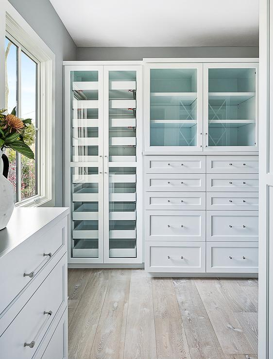 Gray Wash Wood Floors With Custom Closet Cabinets