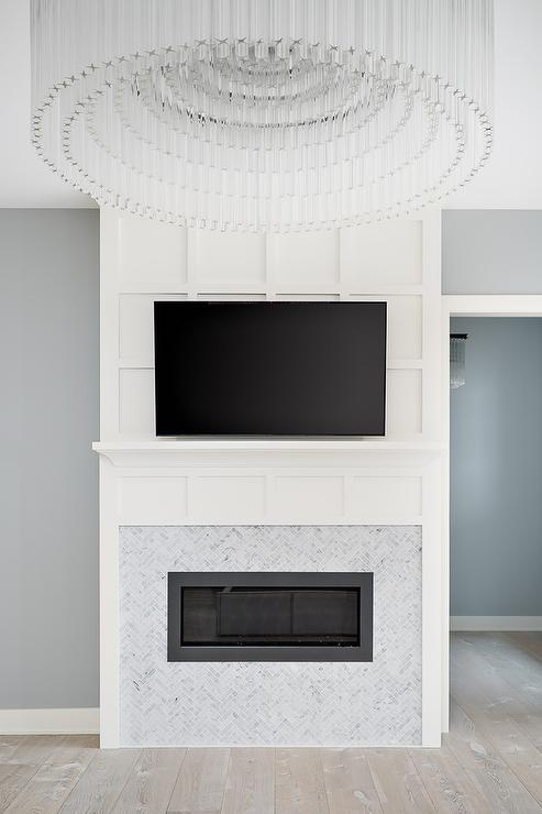 Wainscot Over Fireplace Transitional Living Room